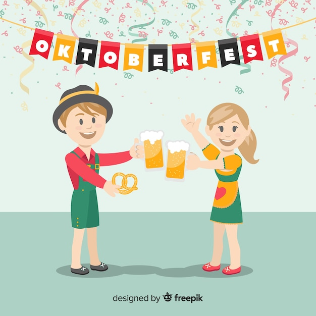 Lovely characters celebrating oktoberfest Free Vector