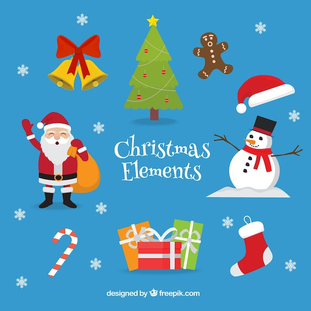 Lovely characters and christmas elements Free Vector