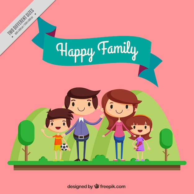 Lovely characters of happy family Free Vector