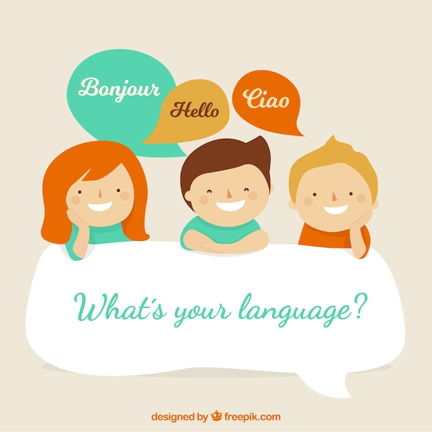 Lovely characters speaking different languages Free Vector