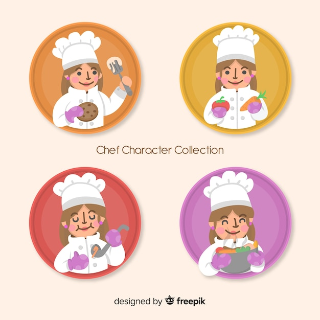 Lovely chef character collection Free Vector