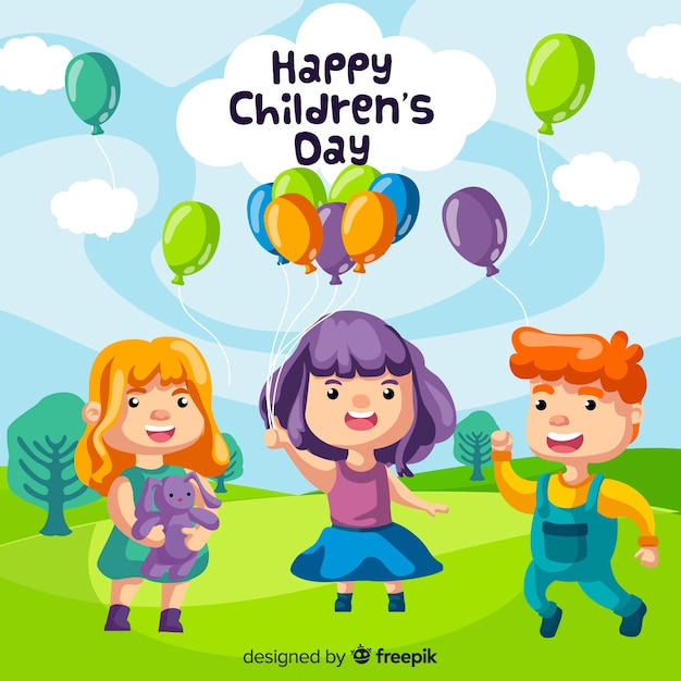 Lovely children's day composition with flat design Free Vector