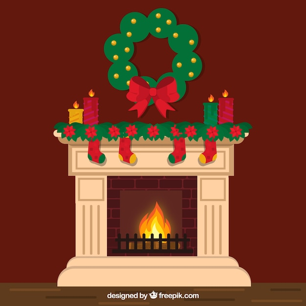 Lovely chimney with christmas decoration vector free download for Decoration image