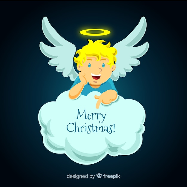 Lovely christmas angel with flat design Free Vector