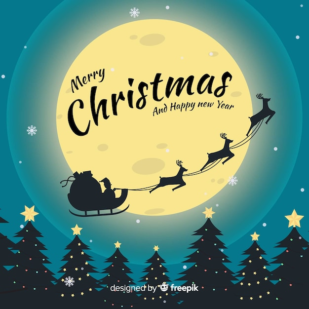 Прекрасный рождественский фон с плоским дизайном Бесплатные векторы