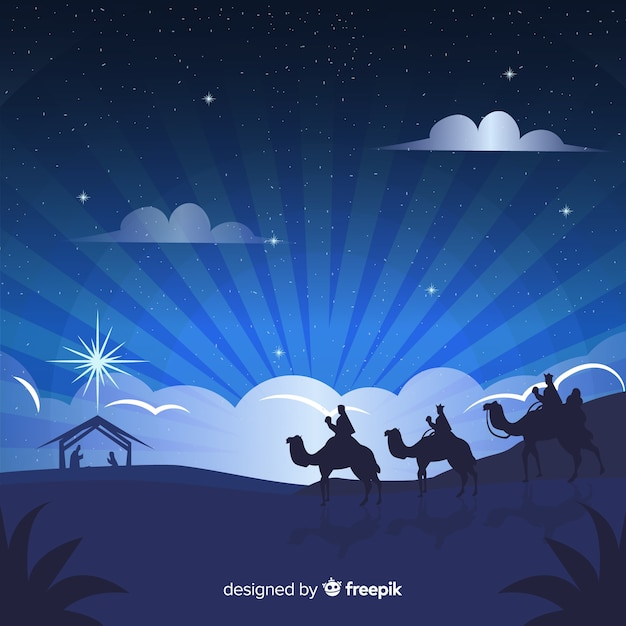 Lovely christmas background with flat design Free Vector