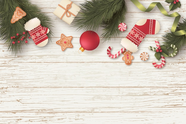 Lovely christmas background with gifts and ornaments Free Vector