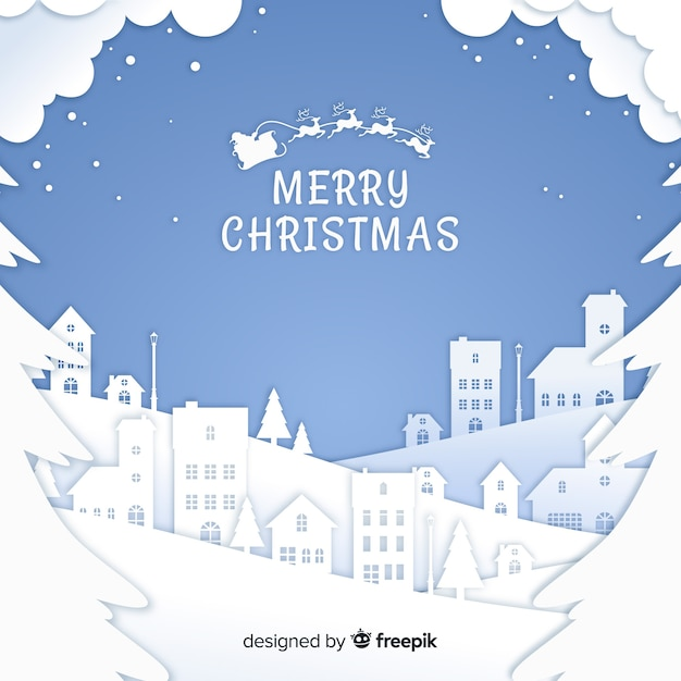 Lovely christmas background with paper style Free Vector
