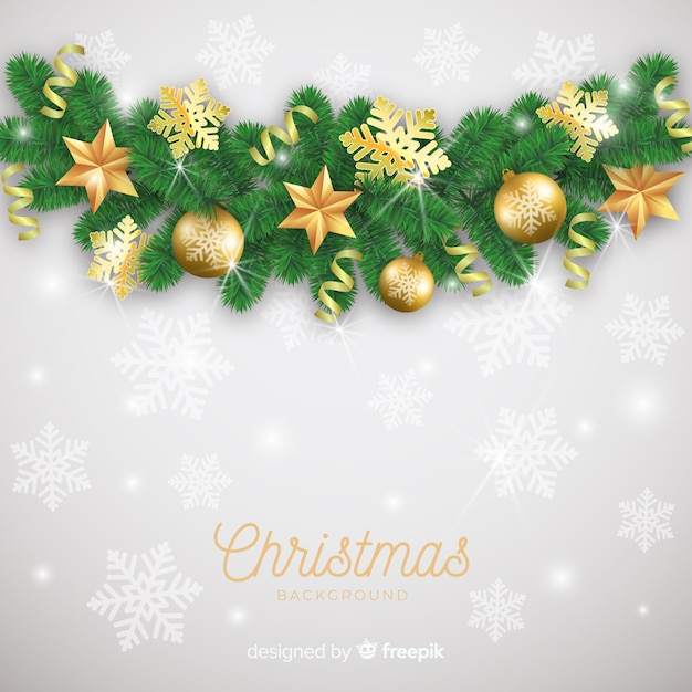 Lovely christmas background with realistic design Free Vector
