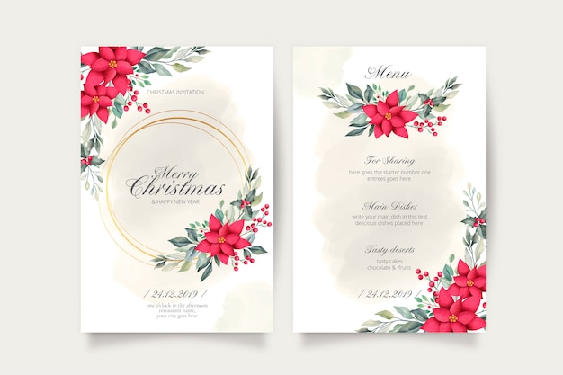 Lovely christmas card and menu template Free Vector