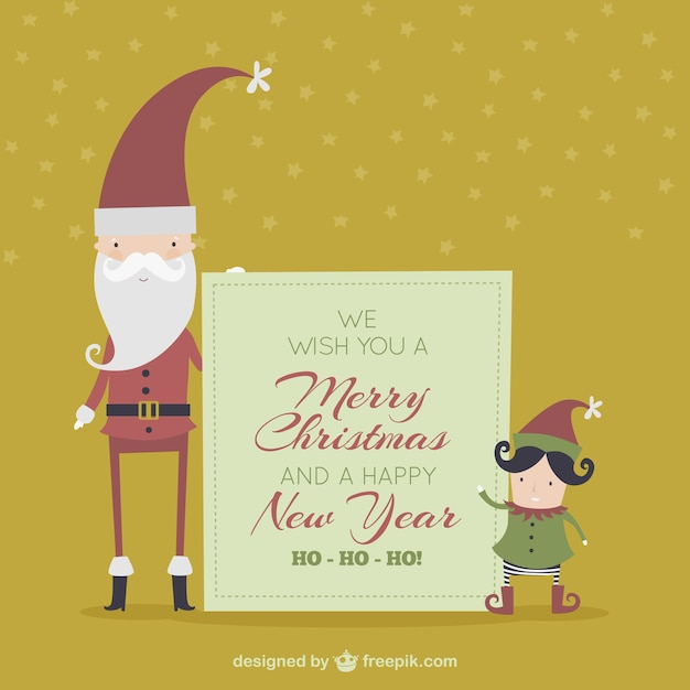Lovely christmas card with santa claus and a elf