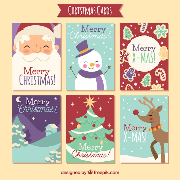 Lovely christmas cards set vector free download lovely christmas cards set free vector m4hsunfo