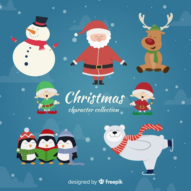 Lovely christmas character collection with flat design Free Vector