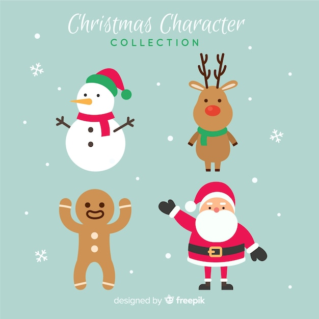 Lovely christmas character collection with flat design Premium Vector