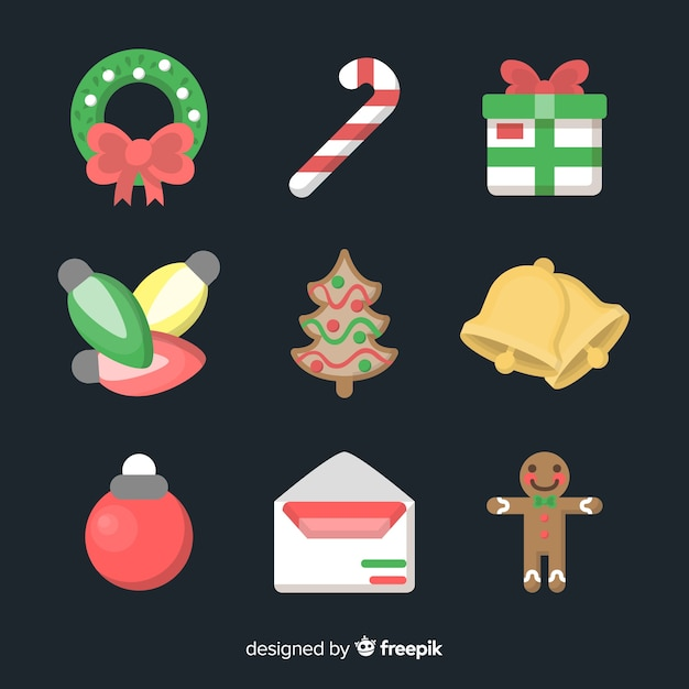 Lovely christmas element collection with flat design Free Vector