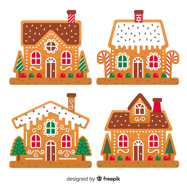 Lovely Christmas House Ginger Cookies Vector Free Download