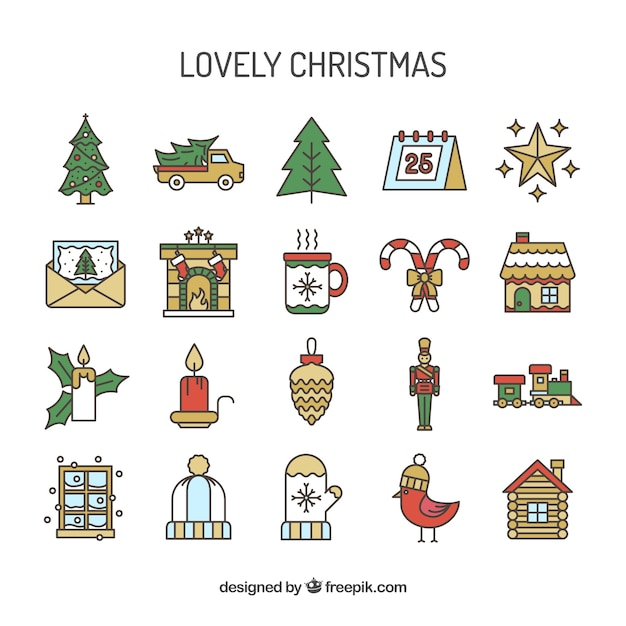 Lovely christmas icons Free Vector