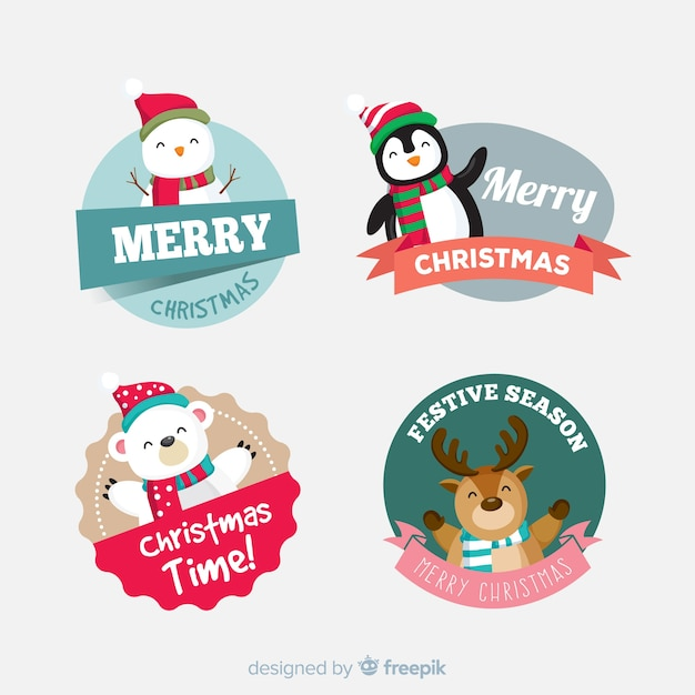 Lovely christmas label collection with flat design Free Vector
