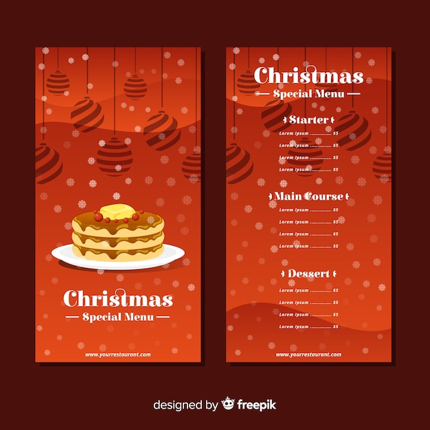 Lovely christmas menu template with flat design Free Vector