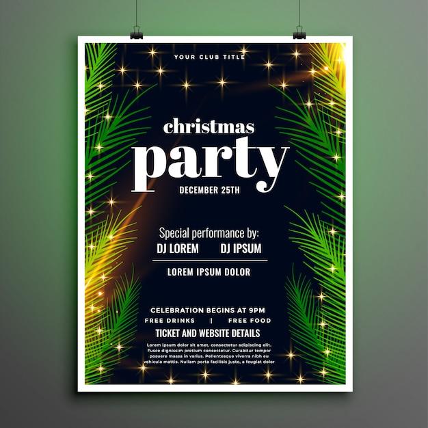 Lovely christmas party celebration leaves style flyer Free Vector