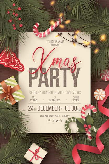 Lovely christmas party poster with cute ornaments Free Vector