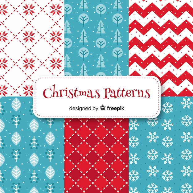 Lovely christmas pattern collection with flat design Free Vector