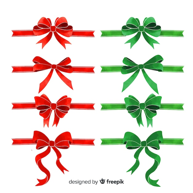 Lovely christmas ribbon collection with flat design Free Vector