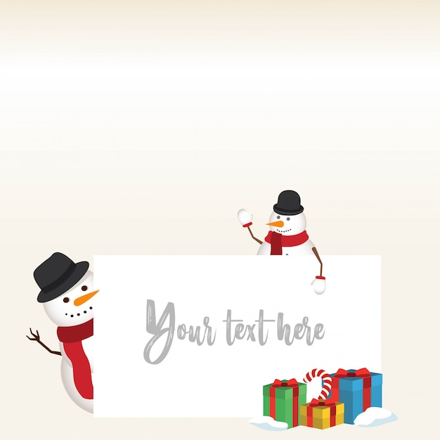 Lovely christmas snowman and santa clause background with flat design Free Vector