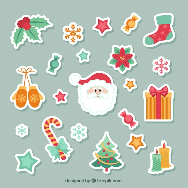 Lovely christmas stikers collection Free Vector