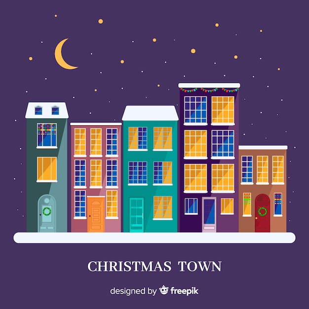 Lovely christmas town with flat design Free Vector
