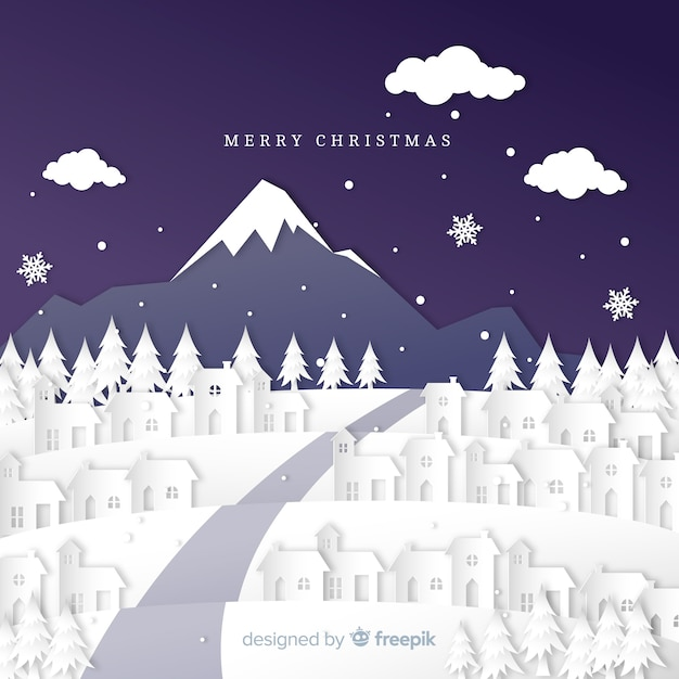 Lovely christmas town with paper art style Free Vector