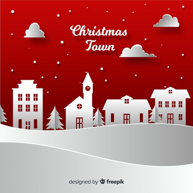 Lovely christmas town with paper style Free Vector