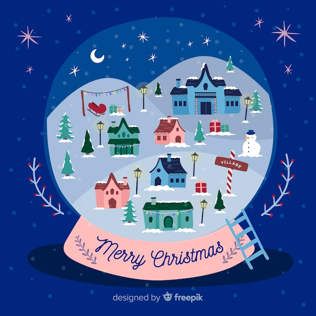 Lovely christmas town with vintage design Free Vector