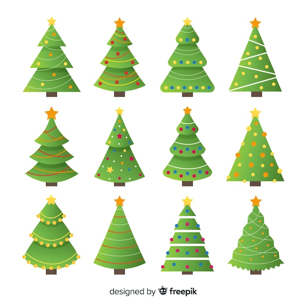 Lovely christmas tree collection with flat design Free Vector