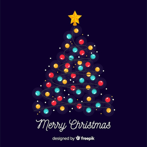 Lovely christmas tree with colorful lights Free Vector