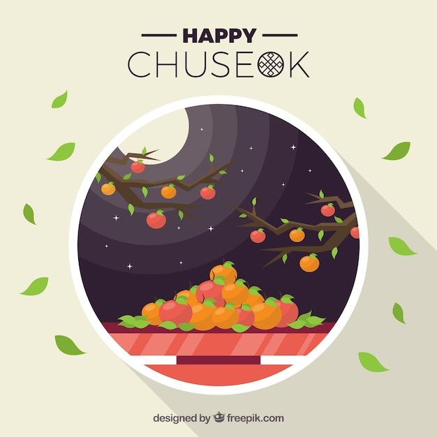 Lovely chuseok composition with flat design Free Vector