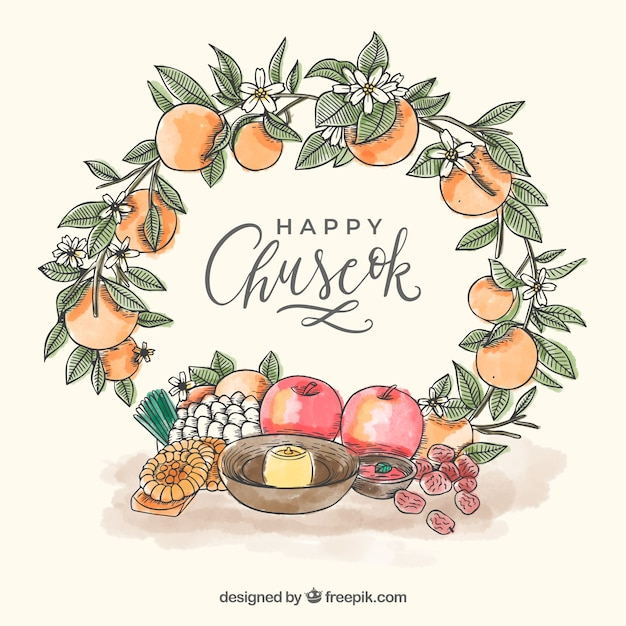Lovely chuseok composition with hand drawn style Free Vector