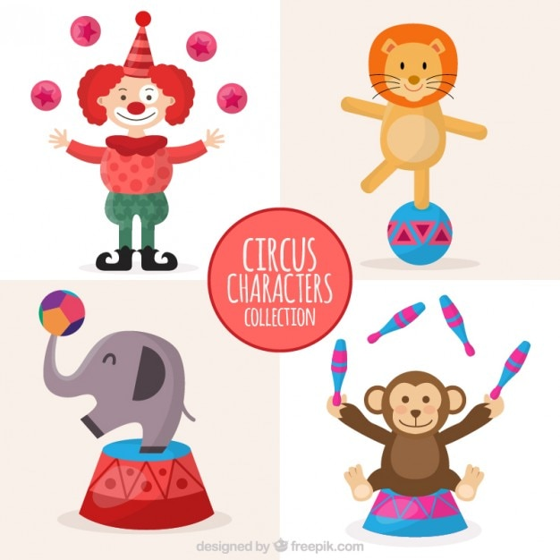 Lovely circus characters collection Free Vector