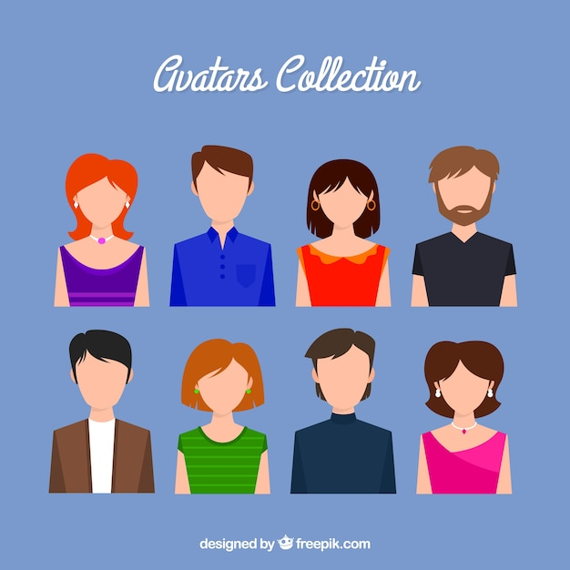 Lovely collection of avatars without face Free Vector
