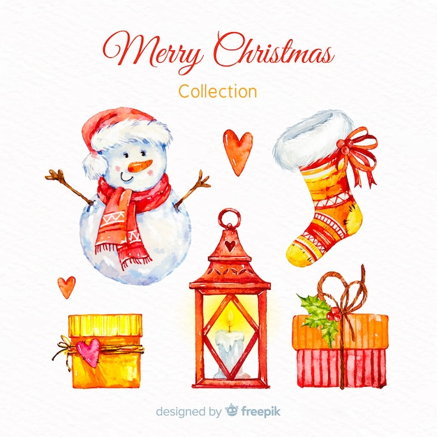 Lovely collection of watercolor christmas elements Free Vector