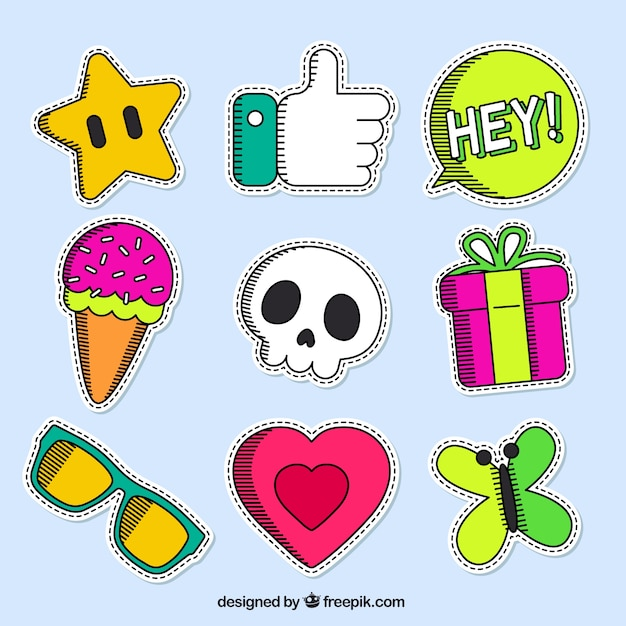 Lovely colorful patches Free Vector