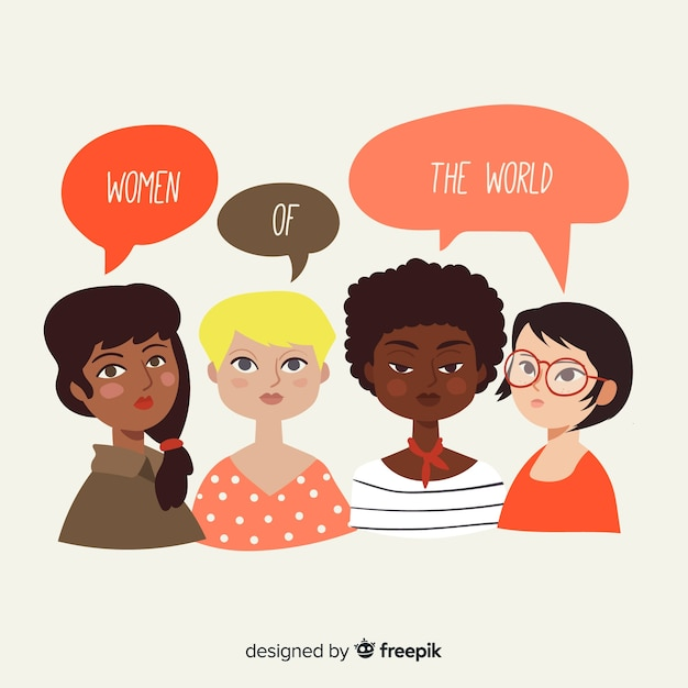 Lovely composition of feminism Free Vector