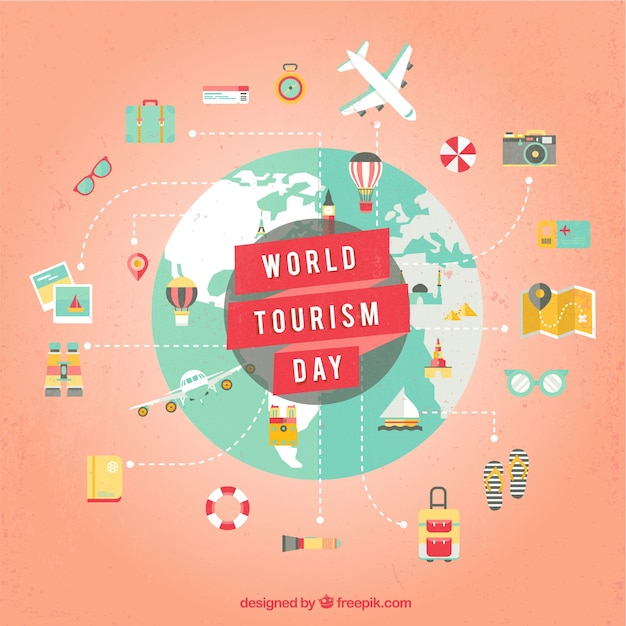 Lovely composition with touristic elements Free Vector
