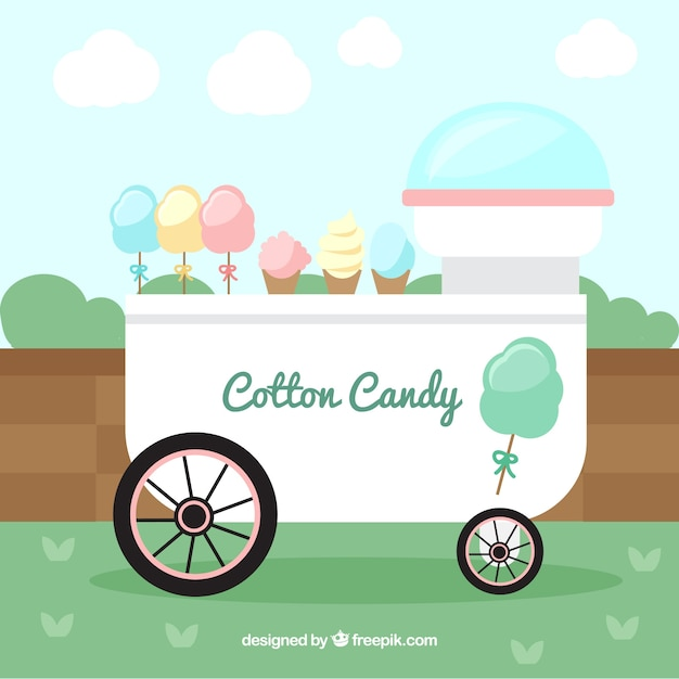 Lovely cotton candy cart in the park
