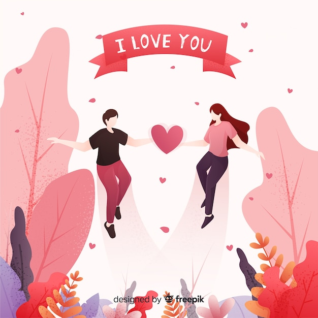 Lovely couple in a forest with hearts Free Vector