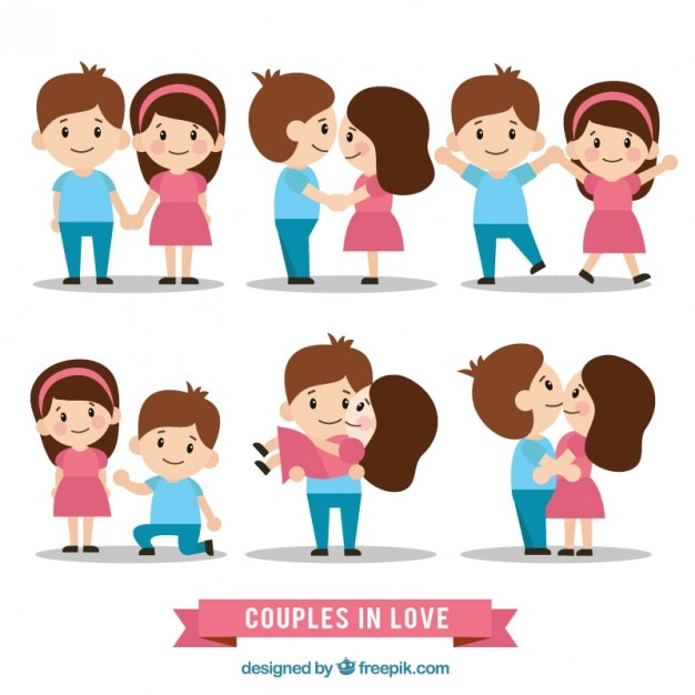 Lovely couple in love set Free Vector