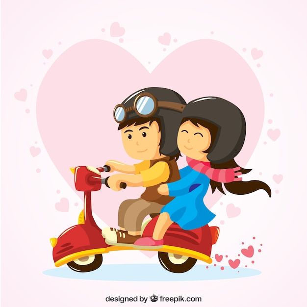 Lovely couple riding a vespa Free Vector