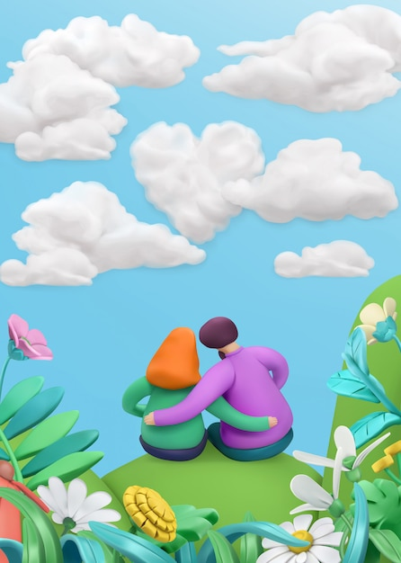 Lovely couple in a spring landscape in cartoon style Premium Vector