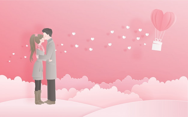 Lovely couple for valentine's card with love concept in sweet paper cut style Premium Vector