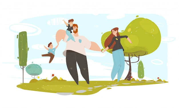 Lovely craft family and happiness illustration Premium Vector